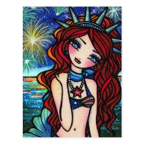 Lady Liberty 4th of July Mermaid Art Postcard