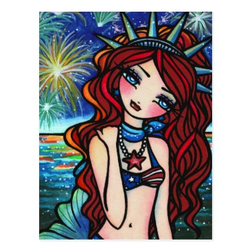 hannahlynnart Lady Liberty 4th of July Mermaid Art Postcard