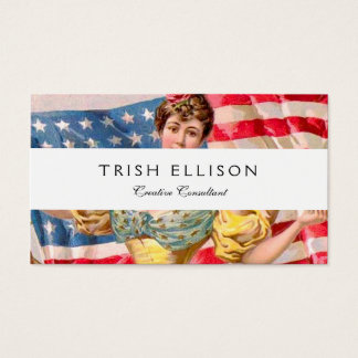 Lady Liberty American Flag Business Card