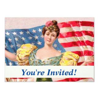 Lady Liberty American Flag Card
