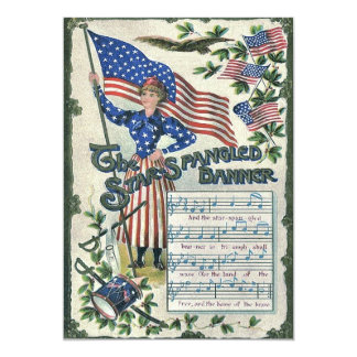 Lady Liberty American Flag Star-Spangled Banner Card