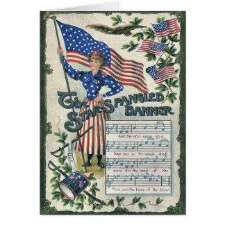 Lady Liberty American Flag Star-Spangled Banner Card