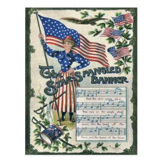 Lady Liberty American Flag Star-Spangled Banner Postcard