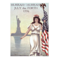 Lady Liberty American Flag Statue of Liberty Card