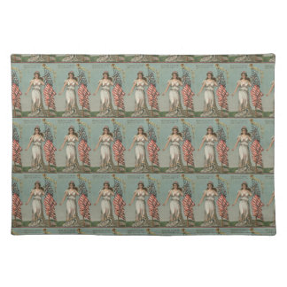 Lady Liberty & American Flag Vintage Placemat Cloth Placemat