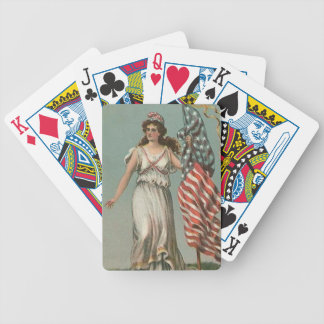 Lady Liberty & American Flag Vintage Playing Cards