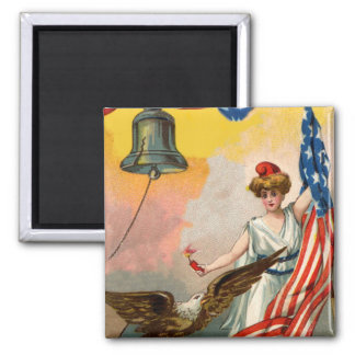 Lady Liberty and American Flag Magnet