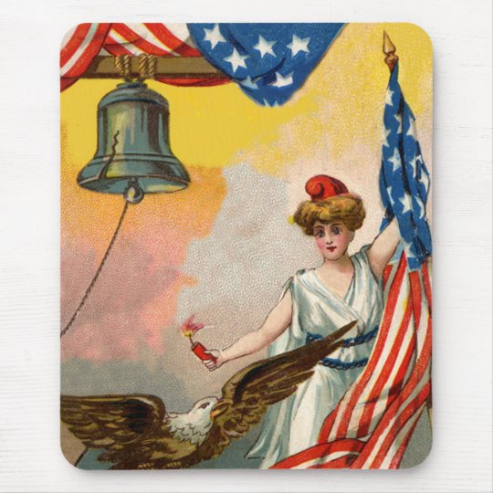 Lady Liberty and American Flag Mouse Pad