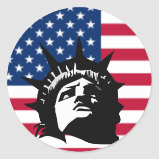 Lady Liberty and the Flag Sticker