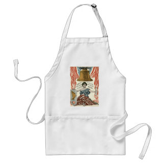 Lady Liberty Bell US Flag 4th of July Adult Apron