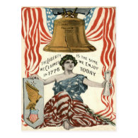 Lady Liberty Bell US Flag 4th of July Post Cards