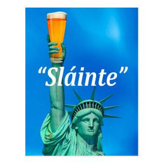 """Lady Liberty celebrates St. Patricks Day """"Sláinte"""" Postcard"""