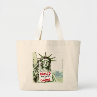 Lady Liberty Closed For Repair Of Congress Funny Large Tote Bag