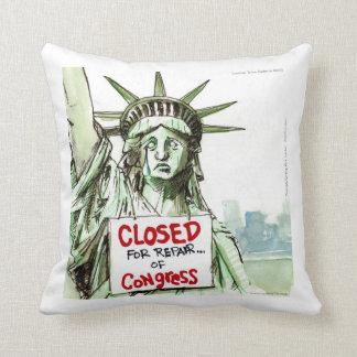 Lady Liberty Closed Sad/Funny Throw Pillow