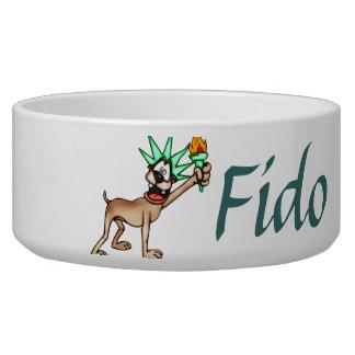 Lady Liberty Dog Customized Dog Bowls