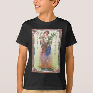 Lady Liberty Eternal Flame Scales of Justice T-Shirt