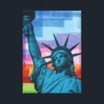 """Lady Liberty Fine Art Print<br><div class=""""desc"""">This reproduction of Ralph Michael Brekan&#39;s &quot;plastic collage&quot; entitled &quot;Lady Liberty&quot; will put a patriotic smile on hippies and warmongers alike. Get your high quality reproduction of Brekan&#39;s most famous work to date!</div>"""