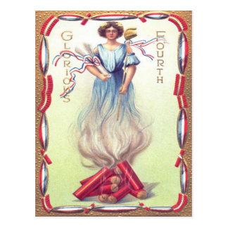 Lady Liberty Fireworks Firecracker Firecrackers Postcard