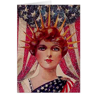 Lady Liberty Flag July 4th Vintage Poster Art Deco Card