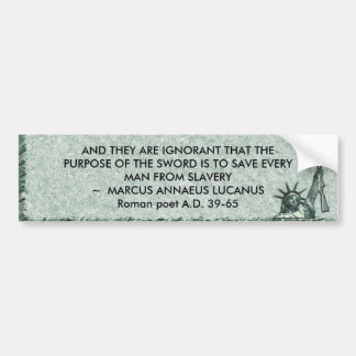 LADY LIBERTY - IGNORANCE OF PUPOSE OF SELF DEFENSE BUMPER STICKER