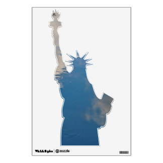 LADY LIBERTY IN ABSTRACT BLUE PATTERN WALL STICKER