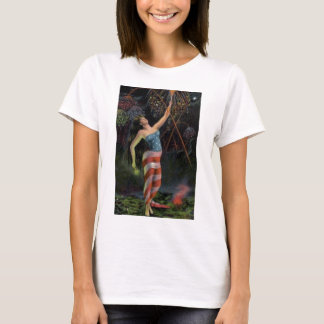 Lady Liberty In Flag T-Shirt