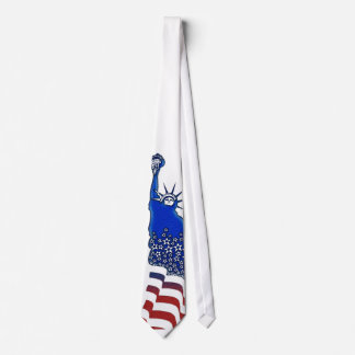 Lady  Liberty in red, white and blue graphic image Neck Tie