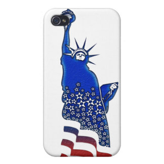 Lady  Liberty in red, white and blue Case For iPhone 4