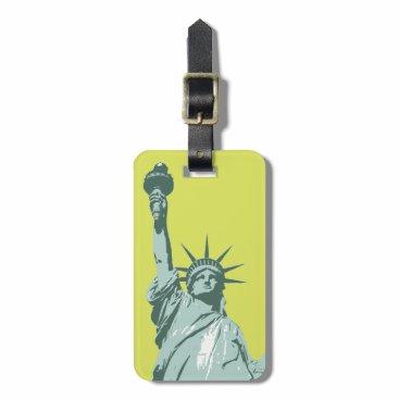 USA Themed Lady Liberty Lime Green Luggage Tag