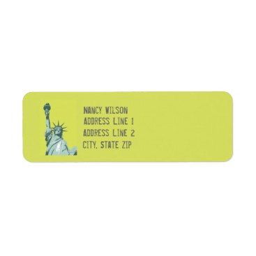 USA Themed Lady Liberty Lime Green Return Address Label