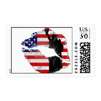 Lady Liberty Lips Postage Stamps