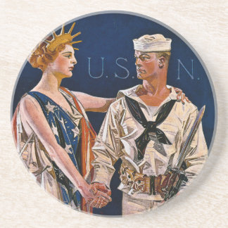 Lady Liberty Meets the U.S. Navy Sandstone Coaster
