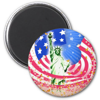 Lady Liberty, New York 2 Inch Round Magnet
