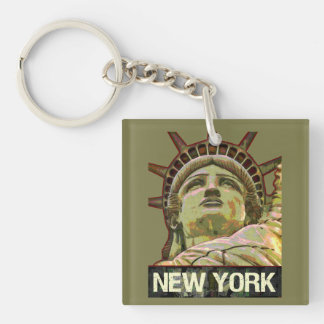 Lady Liberty New York Personalized with Monogram Keychain