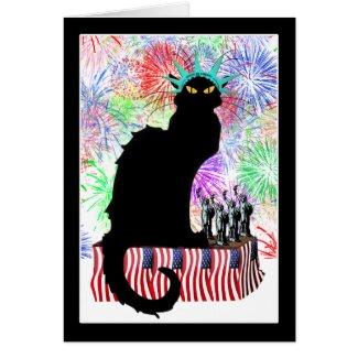 Lady Liberty - Patriotic Le Chat Noir Card