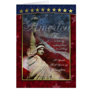 Lady Liberty Patriotic Thank You Card for Daughter