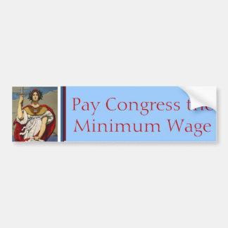 Lady Liberty - Pay Congress the Minimum Wage Car Bumper Sticker