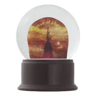 Lady Liberty red and yellow stars 3d curved text Snow Globes