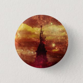 Lady Liberty red and yellow stars Pinback Button