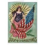 Lady Liberty Stars & Stripes Vintage 4th of July Card