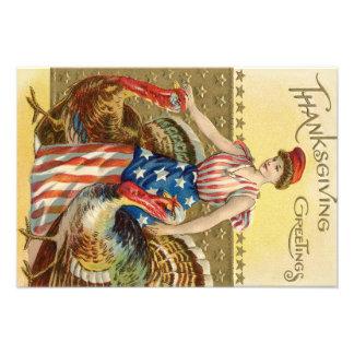 Lady Liberty Turkeys US Flag Patriotic Photo Print