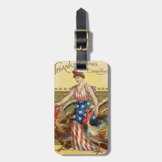Lady Liberty Turkeys US Flag Patriotic Travel Bag Tag