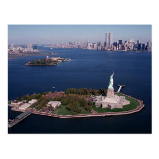 Lady Liberty & Twin Towers World Trade Center NYC Postcard