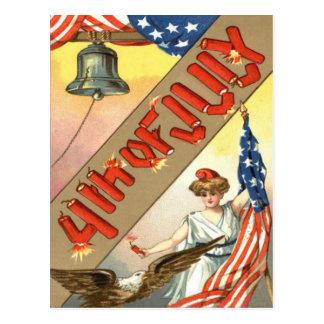 Lady Liberty US Flag Bald Eagle Postcard