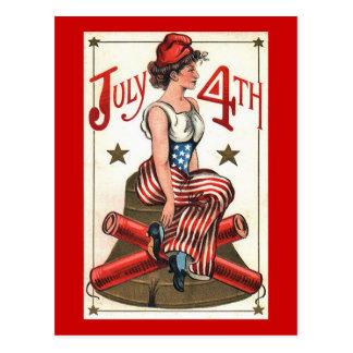 Lady Liberty - Vintage 4th of July Postcard