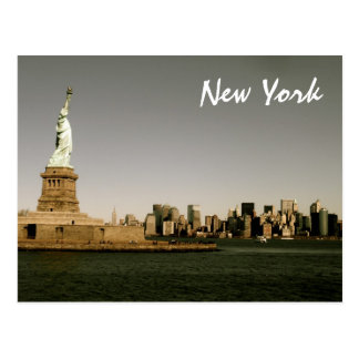 Lady Liberty Watches Over NYC (sepia) Postcard