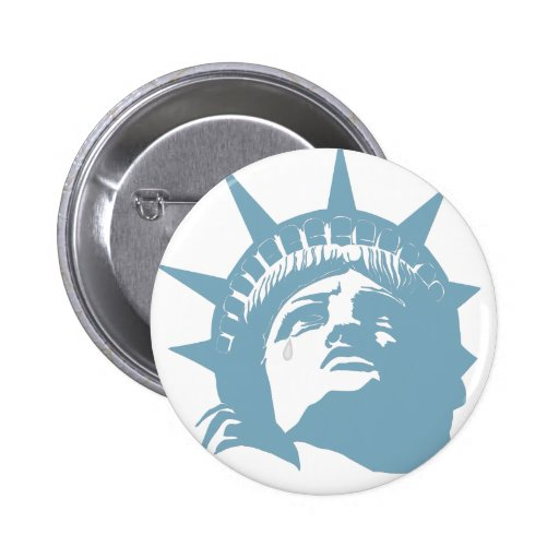 Lady Liberty with a tear Buttons