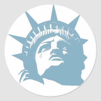 Lady Liberty with a tear Classic Round Sticker