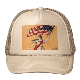 Lady Liberty with American Flag Trucker Hat