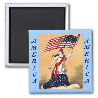 Lady Liberty with American Flag 2 Inch Square Magnet